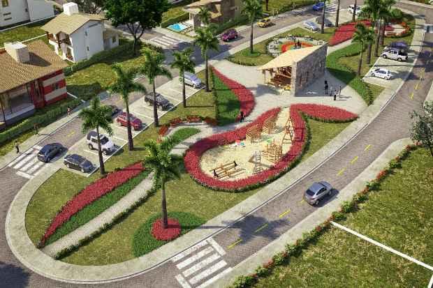 O condomínio será entregue com as ruas calçadas e pavimentadas e uma ampla área de lazer  - Imobi/Divulgação