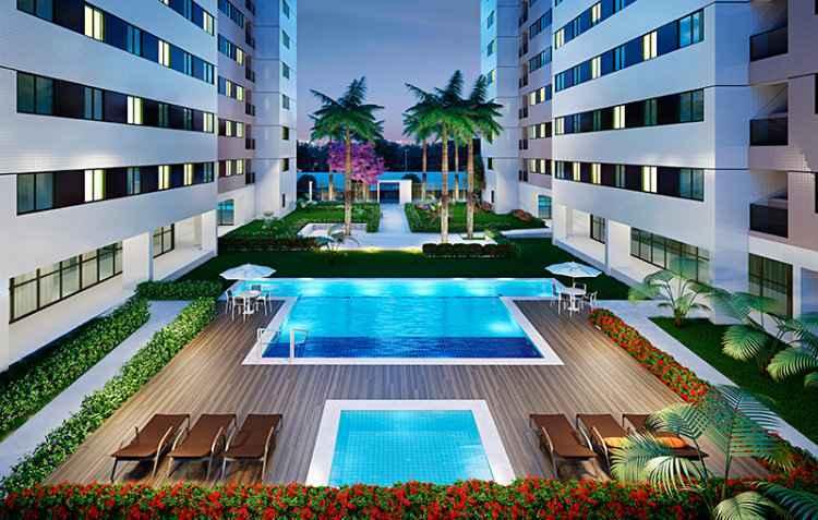 Conjuto terá área de lazer com piscinas e também salas de estudo - Moura Dubeux/Divulgação