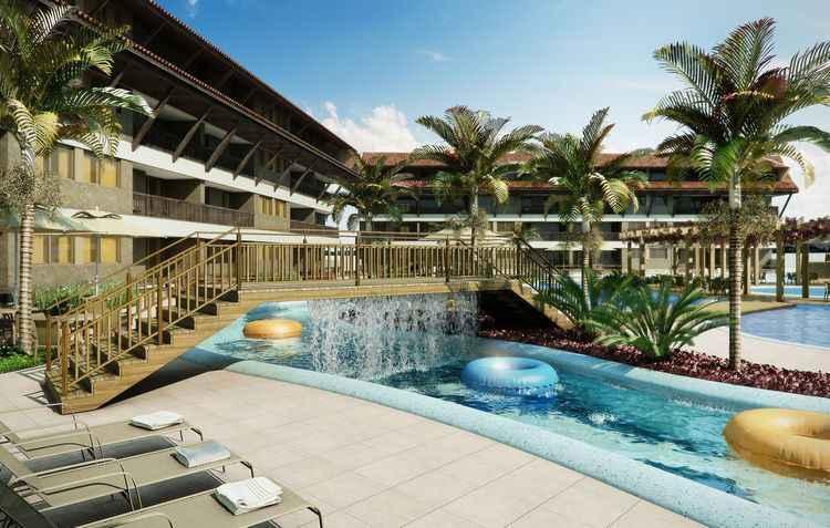 Além de diversas opções de lazer o Oka Beach Residence conta com Oka Adventure, com atrações como parede de escalada, labirinto, tirolesa, e a Oka Rive - QGDI / Divulgação