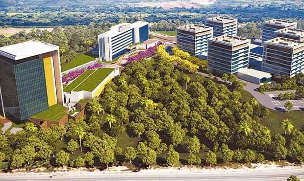 Complexo da QGDI inclui a sede administrativa de Suape, além de torres empresariais - Complexo da QGDI inclui a sede administrativa de Suape, além de torres empresariais (Queiroz Galvão / Divulgação)