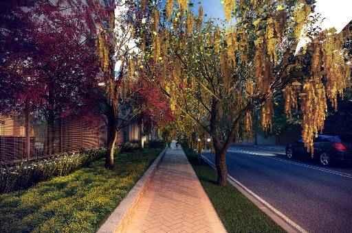 Cerca de 30 árvores serão plantadas nas calçadas  do condomímio (Queiroz Galvão Desenvolvimento Imobiliário / Divulgação) - Cerca de 30 árvores serão plantadas nas calçadas  do condomímio (Queiroz Galvão Desenvolvimento Imobiliário / Divulgação)