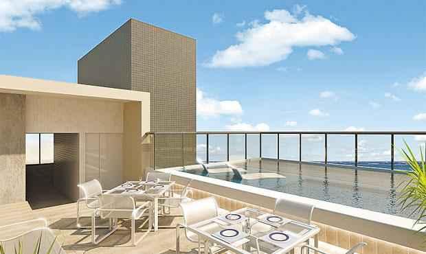 Área de lazer, com piscina, ficará na cobertura do empreendimento - Área de lazer, com piscina, ficará na cobertura do empreendimento (FOTOS: VL CONSTRUTORA/DIVULGAÇÃO)