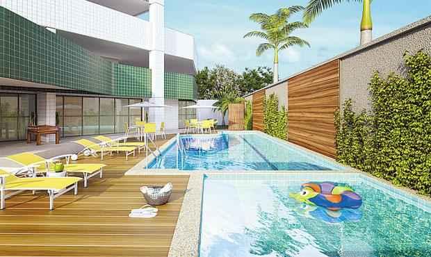 Edifício Aurelino Melo terá mais de dez itens de lazer, como piscina, sauna e salão de festas - Edifício Aurelino Melo terá mais de dez itens de lazer, como piscina, sauna e salão de festas (RENEL EMPREENDIMENTOS/DIVULGAÇÃO)